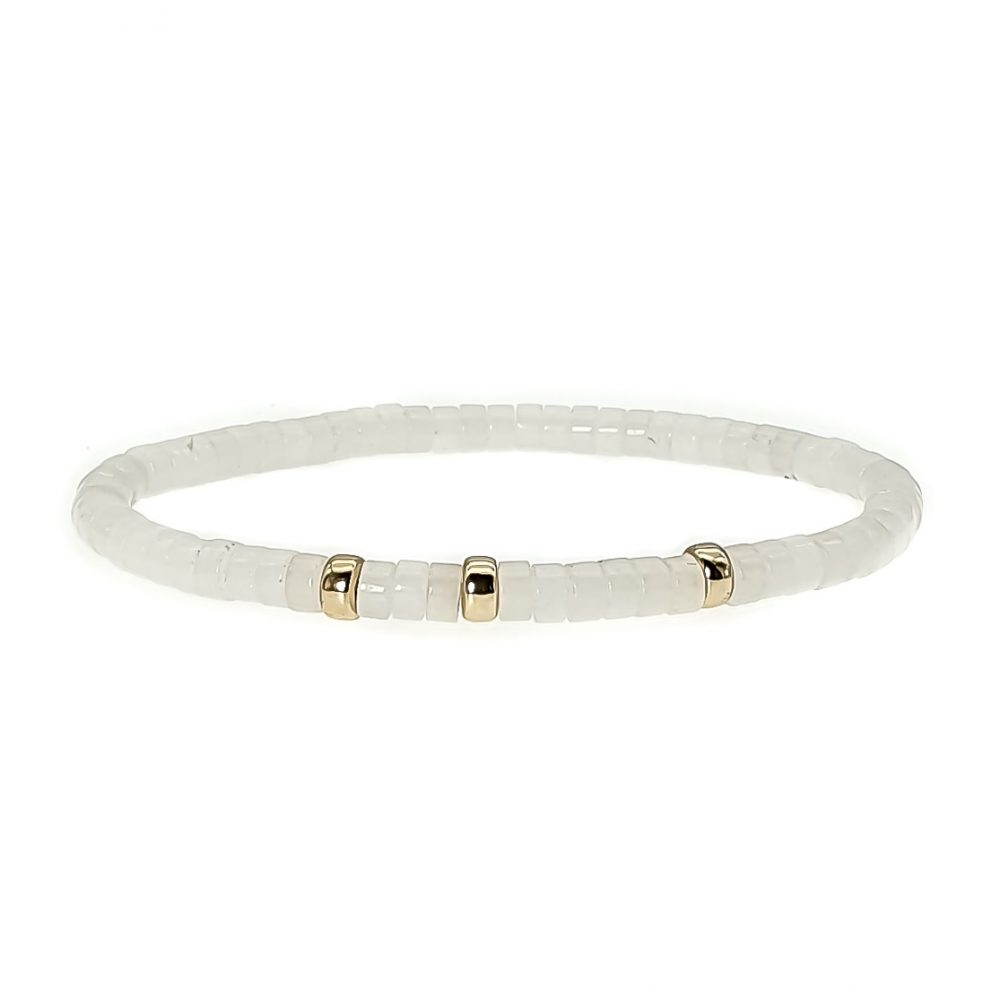White Jade and 9ct Gold Bracelet, heishi and gold bracelet, white stretch bracelet with 9ct gold, elegant bracelet for women, crystal bracelet with gold, gemstone bracelet, healing bracelet