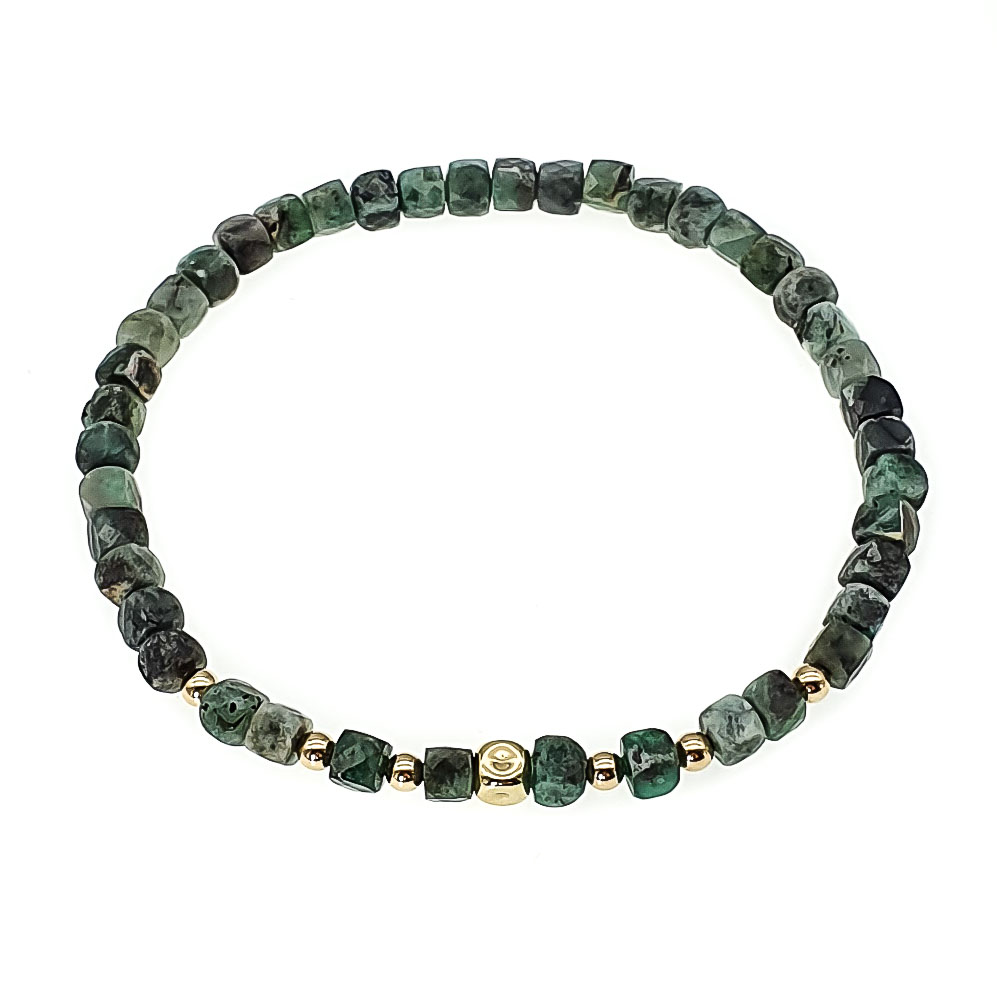 Emerald and 14K Gold Bracelet, emerald stretch bracelet, unique emerald bracelet, emerald jewellery uk, 14k gold bracelet