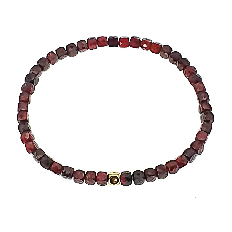 14k Gold and Garnet Bracelet, stretch bracelet, garnet bracelet with gold, ommo london bracelet, luxury bracelet, luxury jewellery