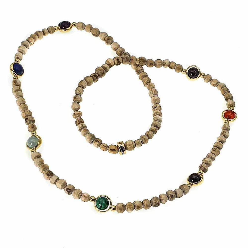 Tulsi Wood Bead Chakra Bracelet, luxury chakra bracelet, luxury tulsi wood bracelet, healing bracelet, spiritual bracelet, protection bracelet, balancing bracelet