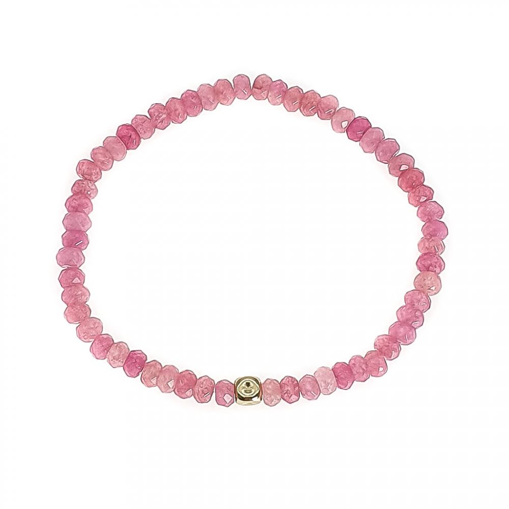 14k Gold and Pink Chalcedony Bracelet, pink bracelet with 14k gold, luxury jewellery, crystal bracelet