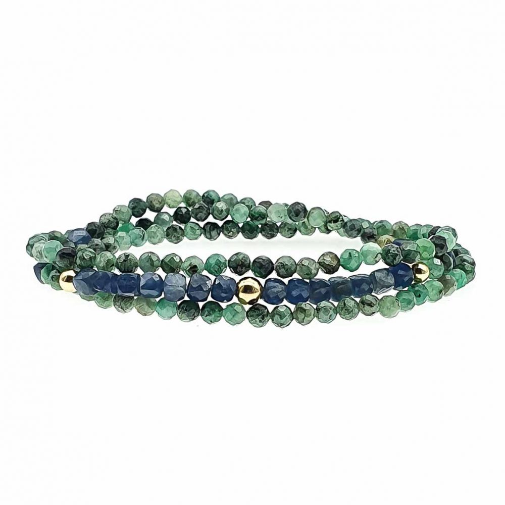 18k Gold Emerald and Sapphire Bracelet , triple wrap bracelet, gemstone bracelet, luxury bracelet from stones, healing bracelet, luxury jewellery, sapphire jewellery, emerald jewellery
