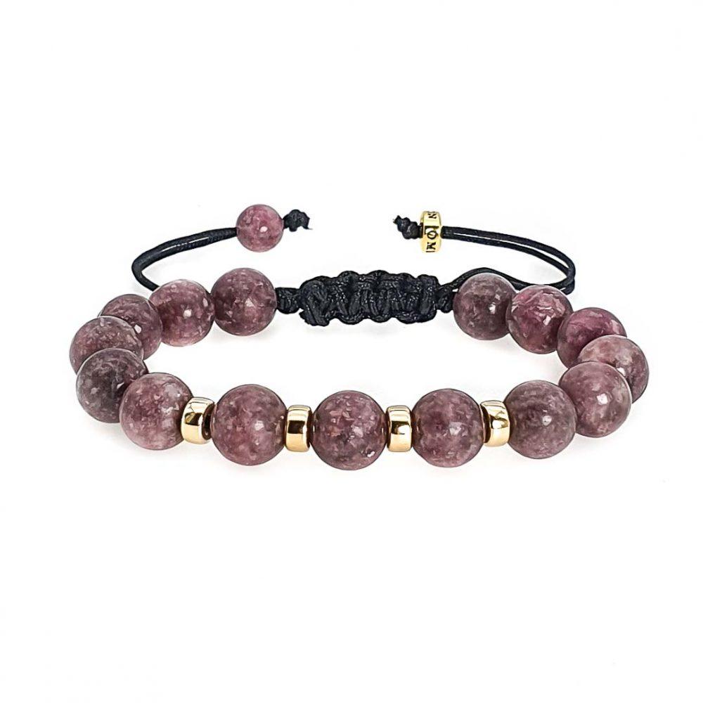 Lepidolite and 9ct Gold Shamballa Bracelet, luxury shamballa bracelet, macrame bracelet, purple bracelet, designer bracelet, lepidolite jewellery, depression bracelet, ommo london bracelet