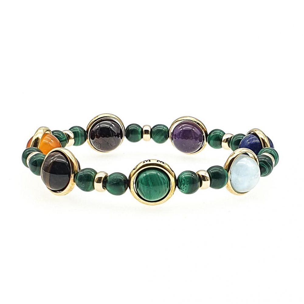 Malachite Chakra Bracelet, gold chakra bracelet, luxury chakra bracelet, healing jewellery, healing crystals, balancing bracelet