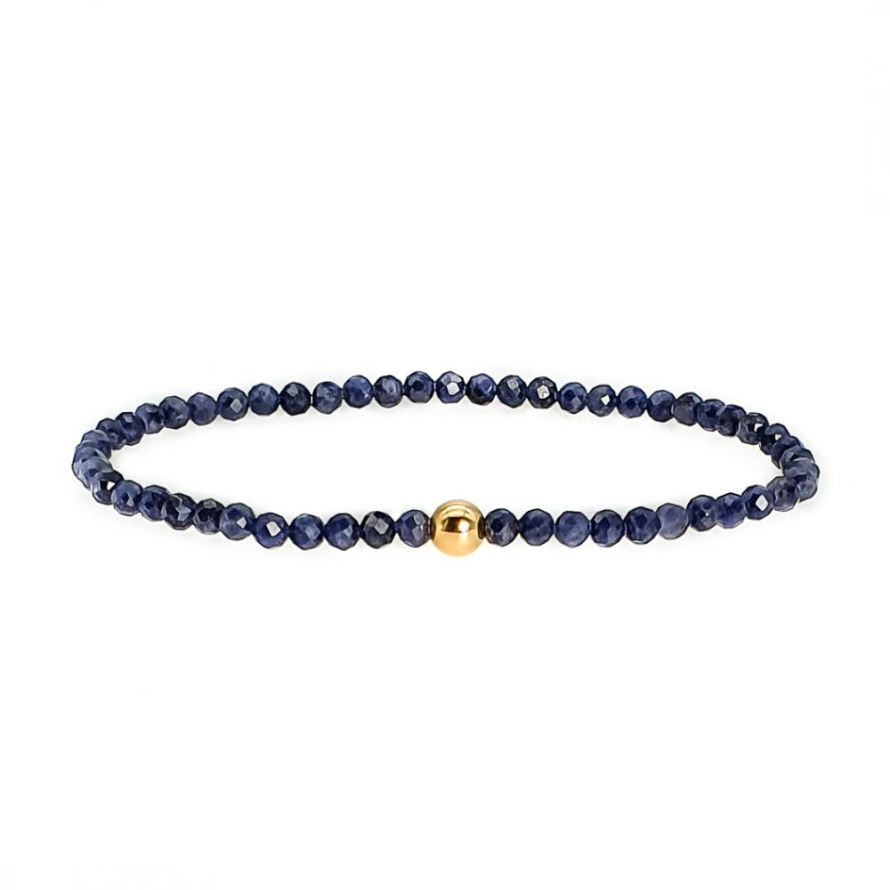 18k Gold and Sapphire Bracelet, faceted sapphire bracelet, 18ct gold and sapphire bracelet, sapphire beaded bracelet, sapphire jewellery, ommo london