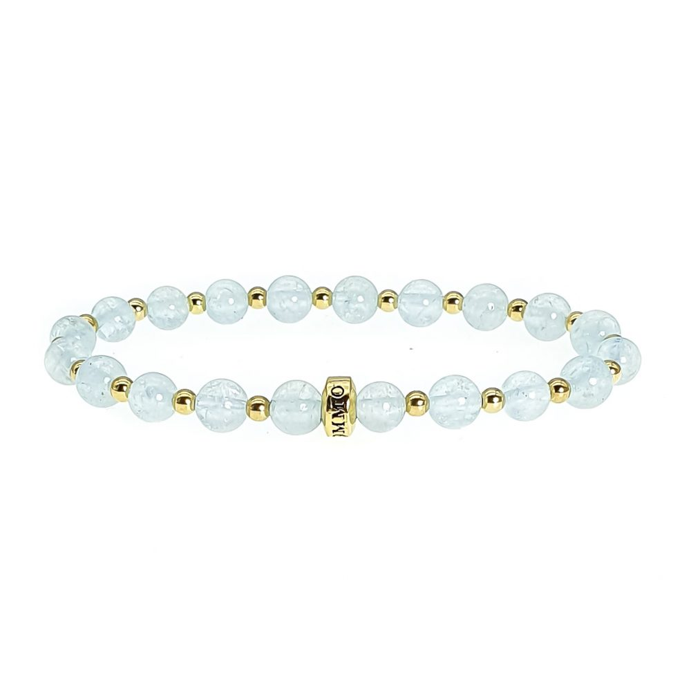 Aquamarine beaded Bracelet, aquamarine bracelet, aquamarine and gold bracelet, aquamarine jewellery, blue bracelet, ommo london bracelet, healing rbacelet, crystal bracelet