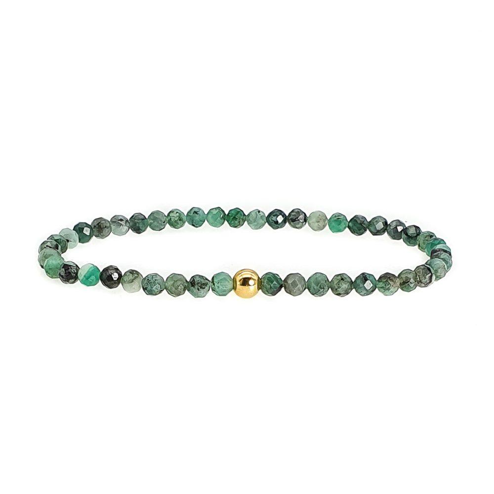 18k Gold and Emerald Beaded Bracelet, luxury bracelet for women, emerald jewellery, emerald and gold bracelet, emerald stretch bracelet, healing jewellery, gemstone bracelet