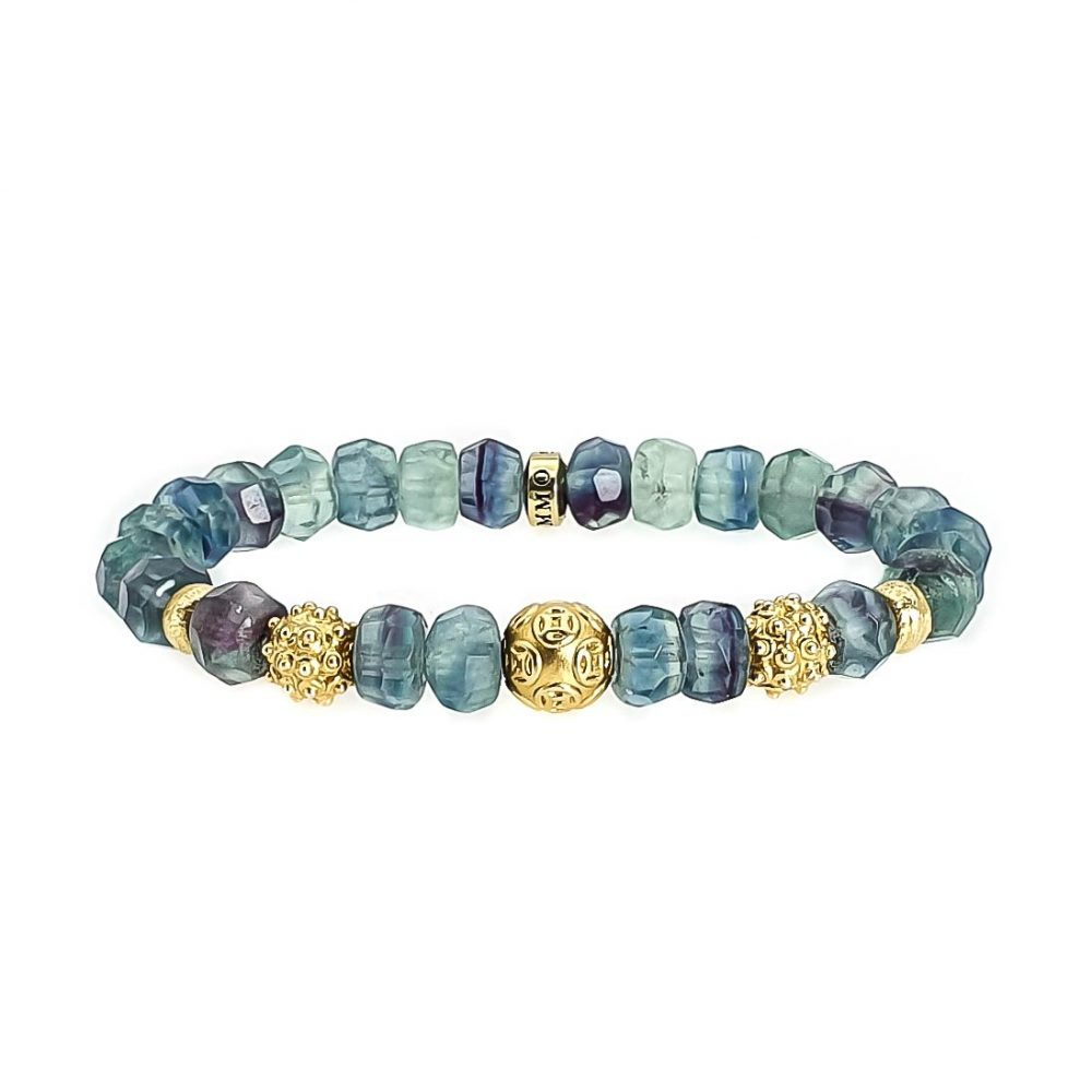 fluorite beaded bracelet, fluorite bracelet, fluorite and gold bracelet, luxury bracelet for women, crystal stretch bracelet, gemstone stretch bracelet, luxury jewellery, ommo london