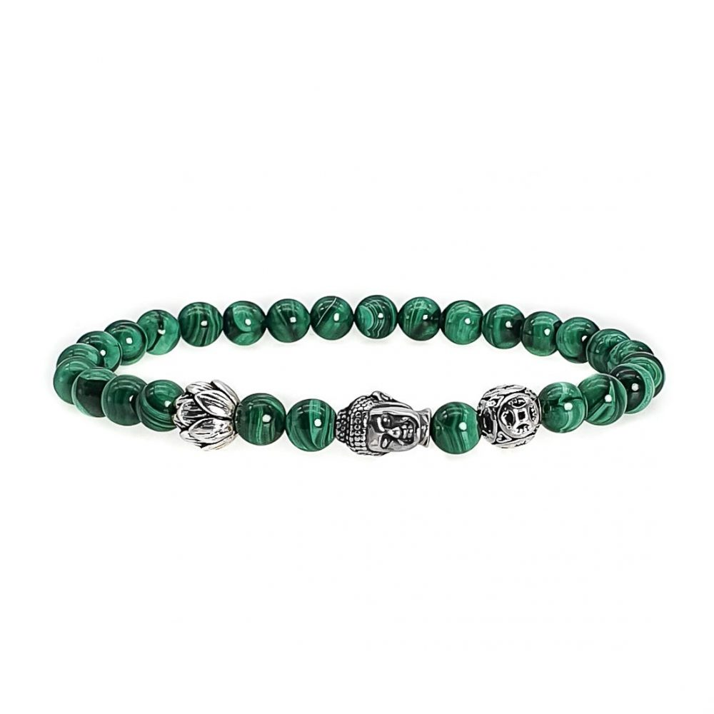 Silver Buddha Malachite Bracelet, buddha and lotus bracelet, malachite and sterling silver bracelet, malachite jewellery for men and women