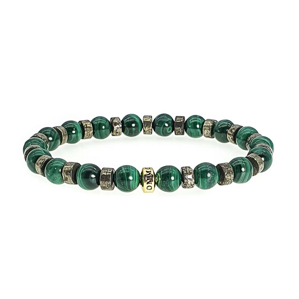 emf protection bracelet, malachite bracelet, pyrite bracelet, designer bracelet for men, designer jewellery, healing jewellery, protection bracelet, radiation protection bracelet