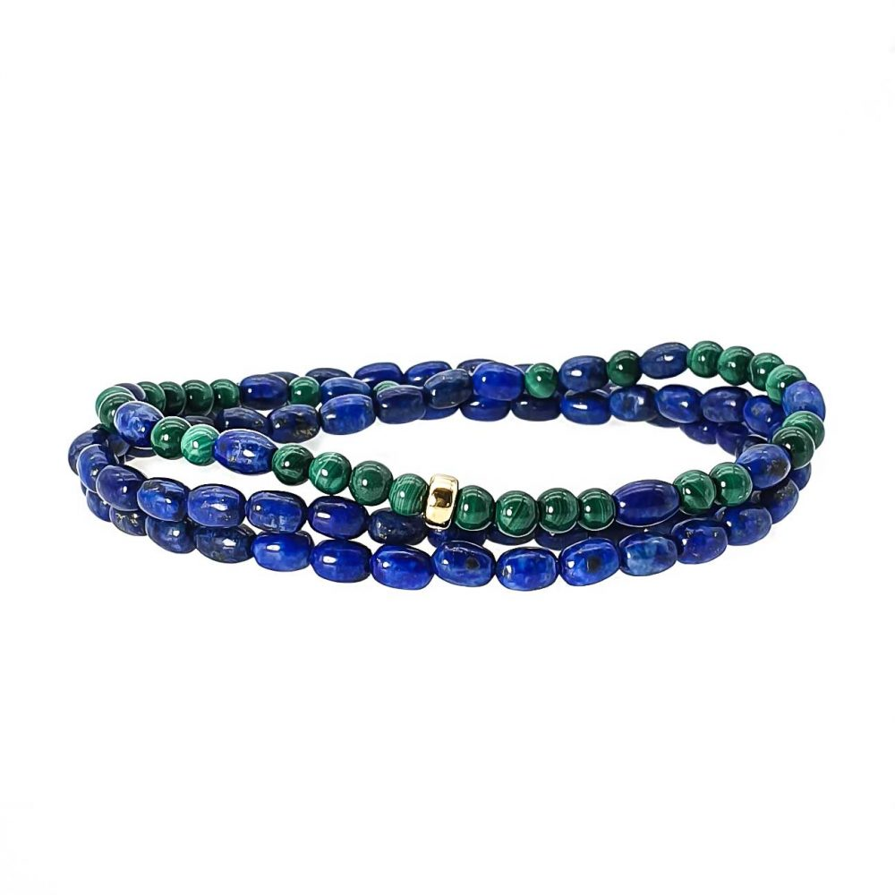 Lapis Lazuli and Malachite Bracelet with 14k Gold, Triple wrap beaded bracelet, lapis lazuli bracelet, lapis lazuli necklace, malachite necklace, beaded necklace with gold
