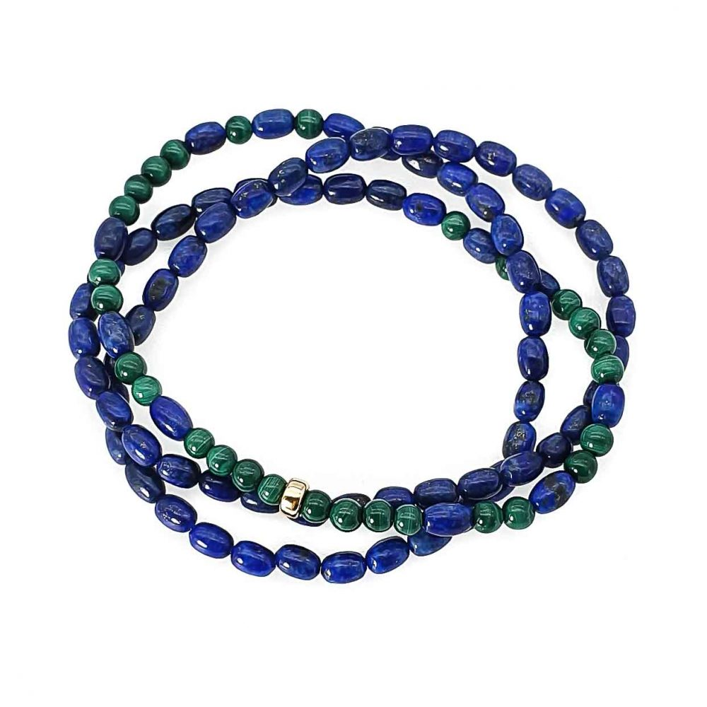 Lapis Lazuli and Malachite Bracelet with 14k Gold, gemstone beaded necklace, malachite necklace for men, malachite necklace for women, lapis lazuli necklace for women, semi-precious jewellery