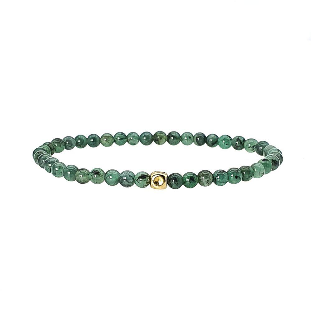14k Gold and Emerald Beaded Bracelet, emerald jewellery, green bracelet, luxury bracelet, designer bracelet, semi-precious stone bracelet, emerald bracelet