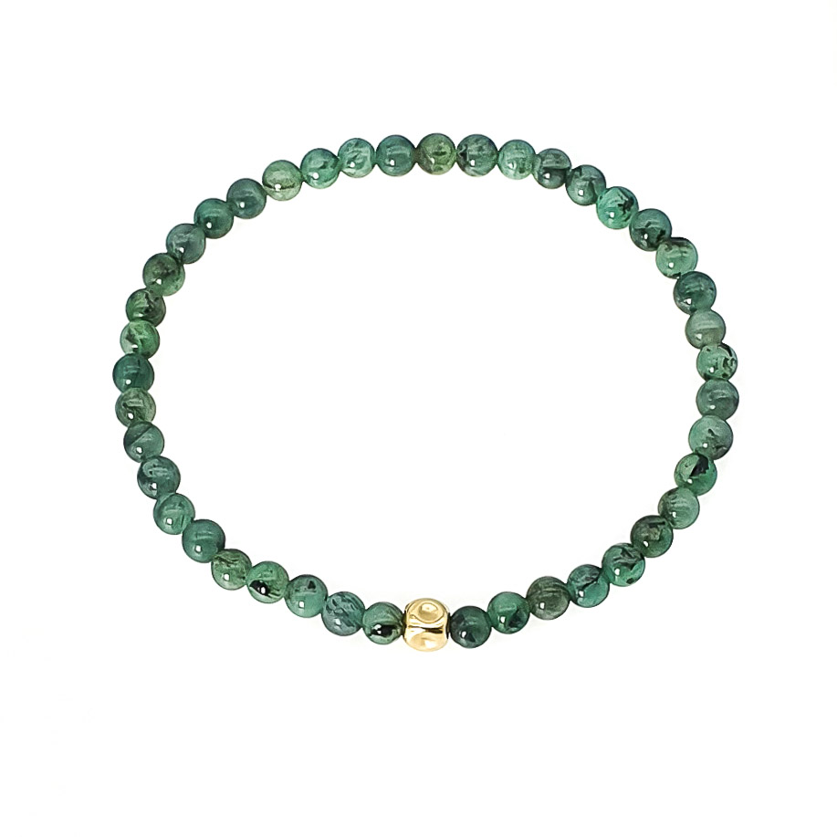 14k Gold and Emerald Beaded Bracelet, green bracelet, crystal bracelet, stone bracelet, beaded bracelet for women, present for her