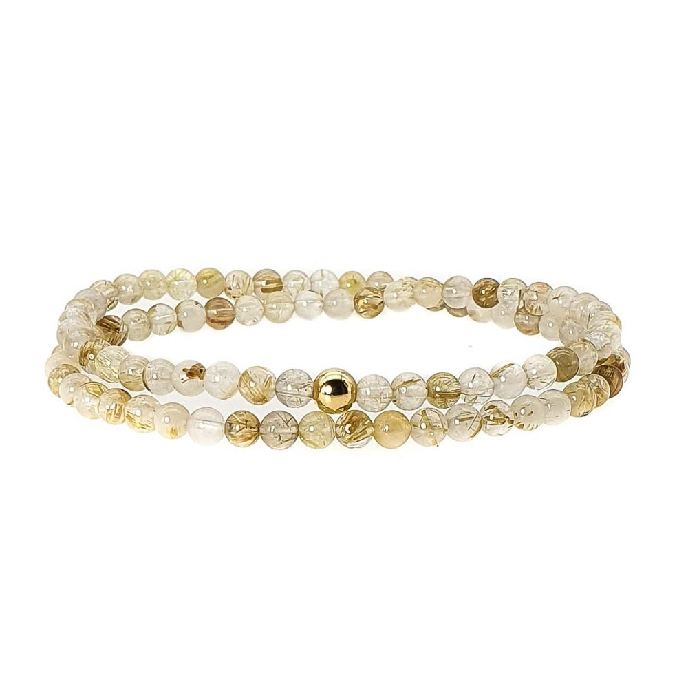 18k Gold and Rutilated Quartz Bracelet, rutilated quartz jewellery, gold quartz bracelet, beaded bracelet for women, luxury jewellery, beaded bracelet uk, ommo london