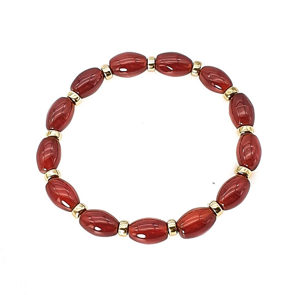 carnelian and 9ct gold bracelet, carnelian agate bracelet, luxury beaded bracelet, red bracelet with gold, gemstone bracelet, stone bracelet with gold, healing bracelet