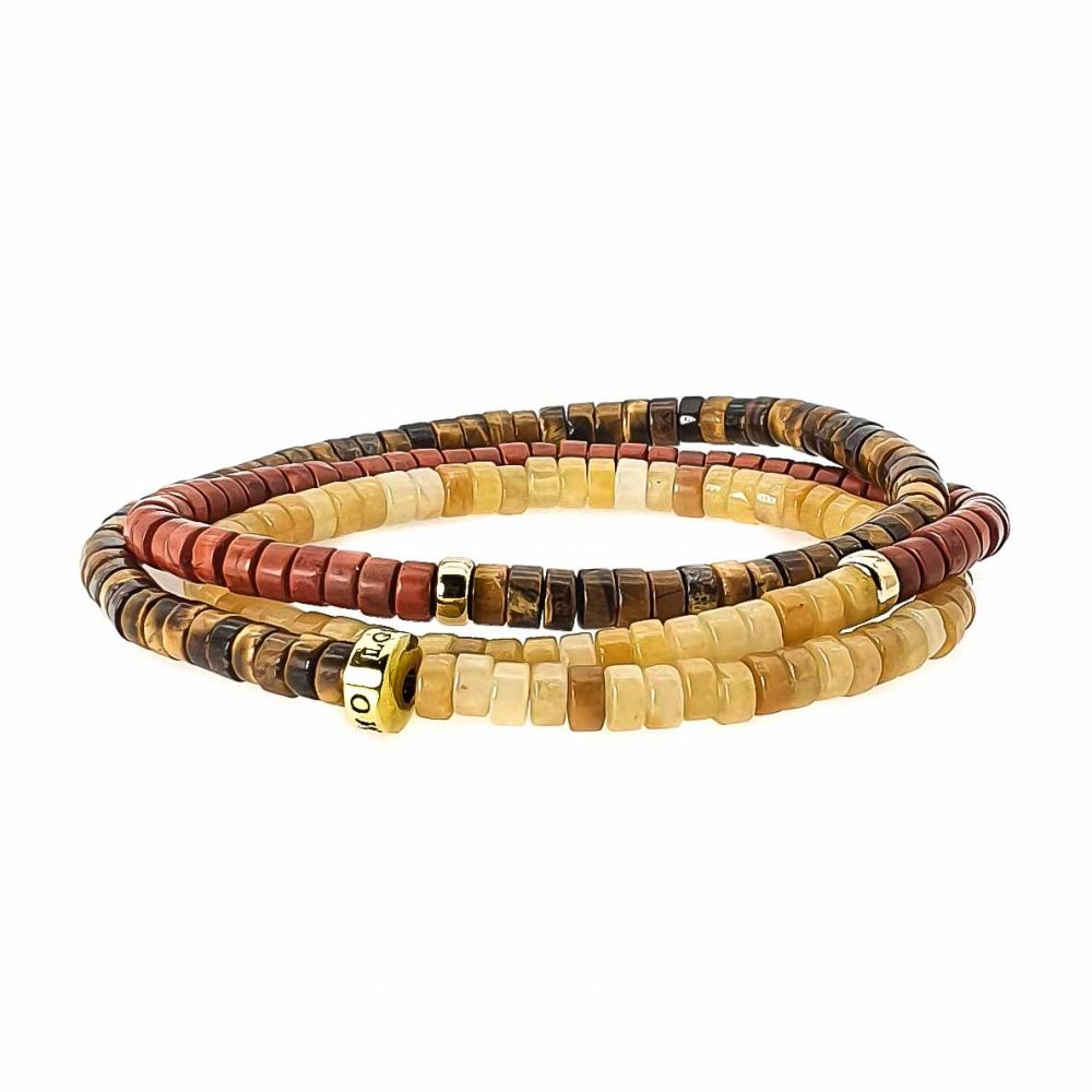 triple wrap heishi bracelet or necklace, bracelet with 9ct Gold, beaded bracelet, beaded necklace, heishi necklace, tigers eye bracelet, red jasper bracelet, tigers eye necklace