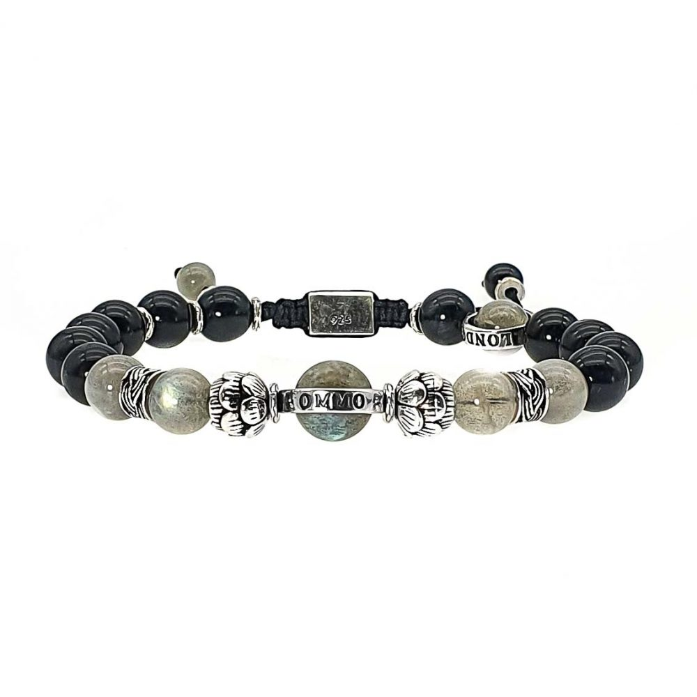 onyx and labradorite beaded bracelet with 925 sterling silver, lotus bracelet, adjustable bracelet, shamablla bracelet for men or women, black and grey bracelet