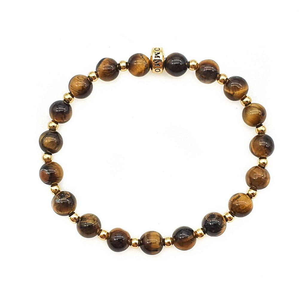 Tiger's eye beaded bracelet for men, tigers eye beaded bracelet for women, tigers eye jewellery, tigers eye and gold bracelet, stretch bracelet, bangle, luxury jewellery, designer bracelet