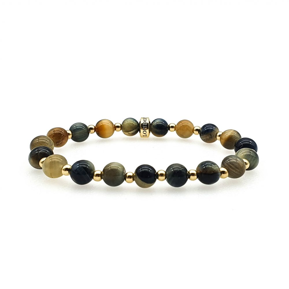 Golden Blue tiger's eye bracelet for men and women, luxury tigers eye bracelet, tigers eye and gold bracelet, unique bracelet for men or women, luxury jewellery for men and women