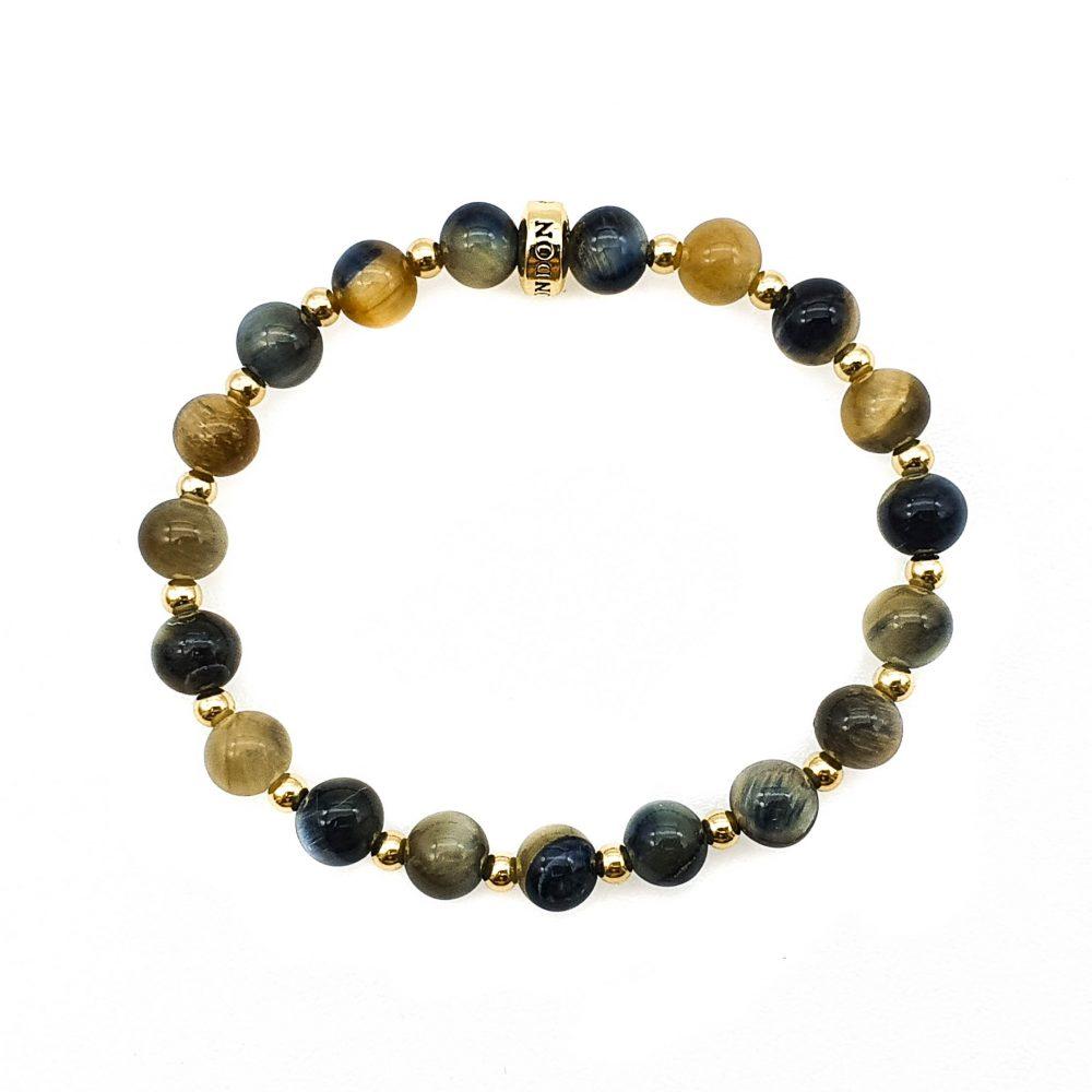 Golden Blue tiger's eye bracelet for men and women, luxury tigers eye bracelet, tigers eye and gold bracelet, unique bracelet for men or women, luxury jewellery for men and women